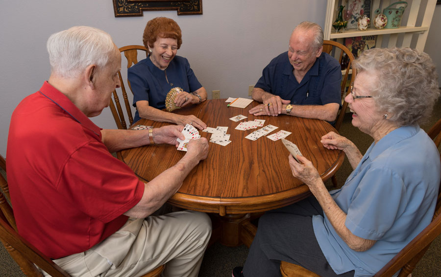 Residents at Mountain Creek are enjoying playing cards
